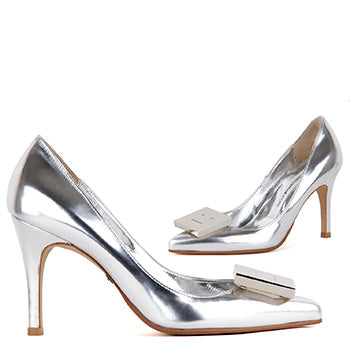 4fe83d7ac petite hand made silver leather funky high pumps flak silver By Pretty  Small Shoes