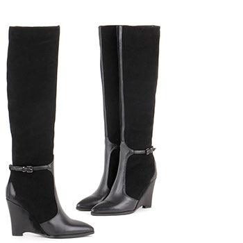 5acd741cf90 petite ladies knee high wedge heel boots in black leather - by Pretty Small  Shoes