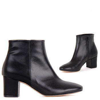 Black Leather Ankle Boots - ZEE black
