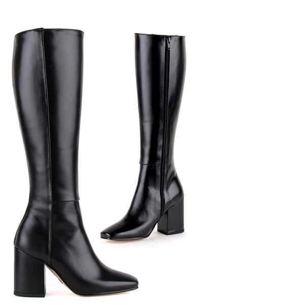 19fde078ab18 Petite Size Classic Black Knee Boots 8cm Block heel Liona By Pretty Small  Shoes