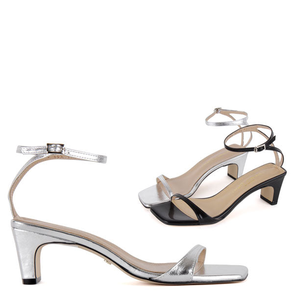 10720427f5263 Petite Size Silver Or Black Strappy Sandals 5cm Heel Cole by Pretty Small  Shoes