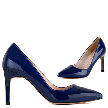 Petite navy blue patent leather pumps Ella Navy Patent By Pretty ...