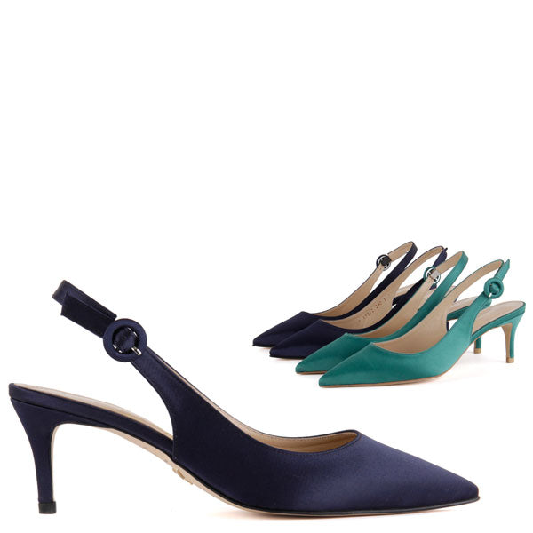 bd5da7cc48f Petite Size Slingback Mid-Heel With Navy Or Green Satin by Pretty ...