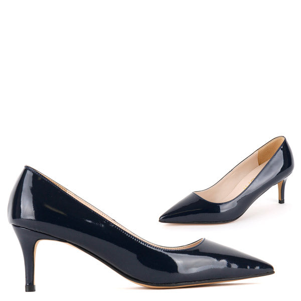 Small Size Classic Navy Patent Leather Mid Heel Courts By Pretty ...
