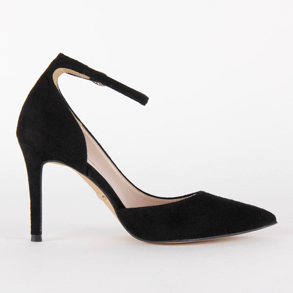 *TIMESTRETCH - black suede, 9cm size UK 1