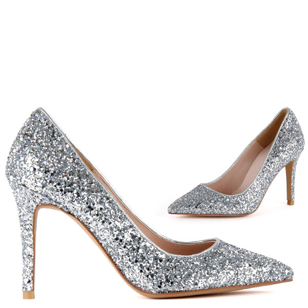 1fbce7b83d23 Petite Size Silver Glitter Point Toe High Party Heel Sera by Pretty Small  Shoes