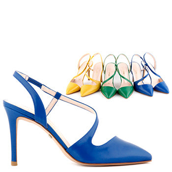 8d69fb142a9 Small size ladies colourful leather slingback high heels vidame colour  block By Pretty Small Shoes