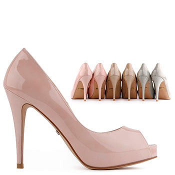 *KILLER OPENTOE HEELS - 2013 colours, beige leather, 11cm with 2cm platform, size UK 3
