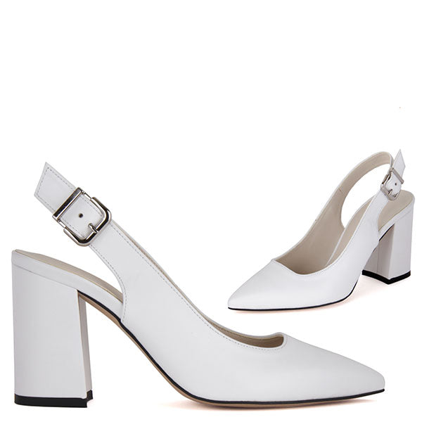 ec7f4f368b0 Small Size White Leather Slingback Block Heels Tutto by Pretty Small Shoes