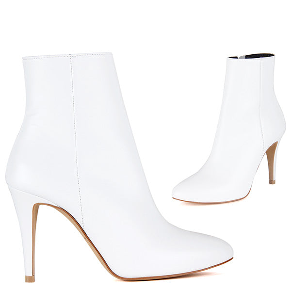 429ef9853d1 Petite White Leather Ankle Boots Budget Price OSCAR Hand Made by Pretty  Small Shoes