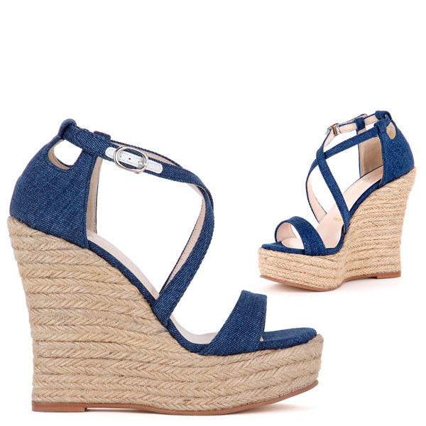 61122b60ae42 Petite Size Denim Wedge Espadrille Sandals Bouquet by Pretty Small Shoes