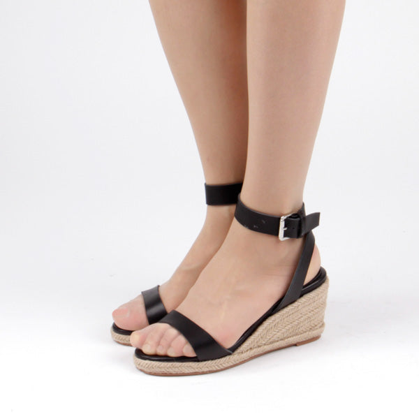 5eb3800fe99 CONSTANCE - UK 13 / EU 32 / USA 2 / (210mm length) / Black / 6cm  Espadrilles wedge
