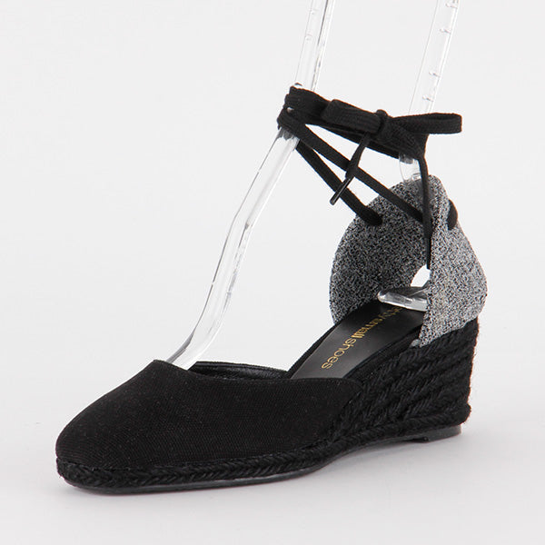 *VERONA espadrille, Black, 5CM WEDGE, size UK 2.5