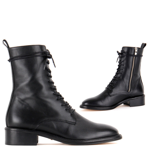 Size Classic Black Lace-Up Ankle Boots