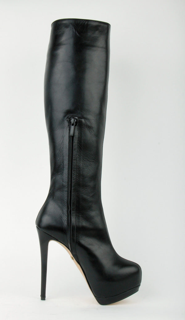 d34e81f606389 Super High petite Size Boots Black leather Platform PASHA By Pretty ...