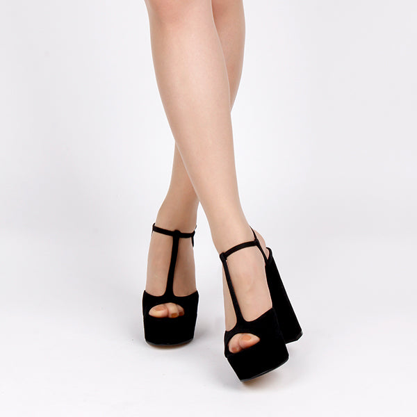 ce4ab94bf33 Small Size Black Suede T-Bar High Platform Heels Rollo by Pretty Small Shoe  size 35 instock