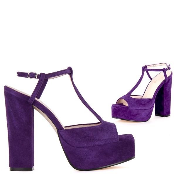 b943e5445aa1 Petite Size Purple Suede T-Bar High Platform Heels Rollo by Pretty Small  Shoe