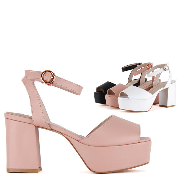 Size 70s Style High Platforms Pink