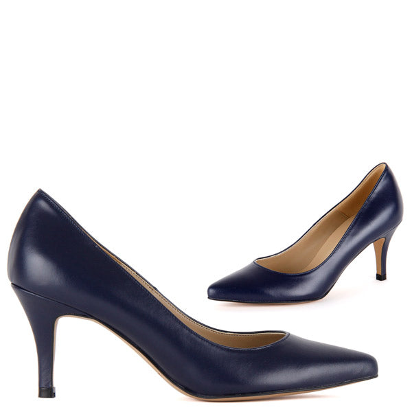 *PRIMOLOCO - navy leather, 7cm size UK 13
