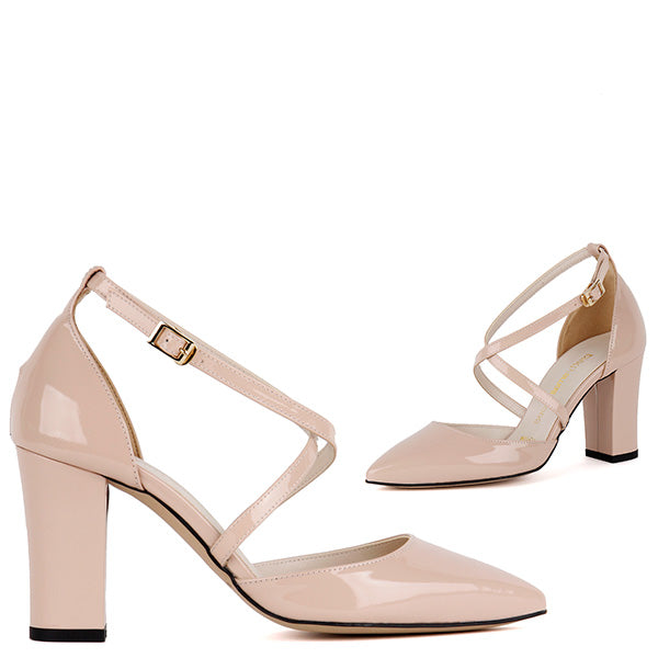 6a4a37d89a07 Petite Nude Patent Leather Strapped Block Heels - ANDROMEDA by Pretty Small  Shoes