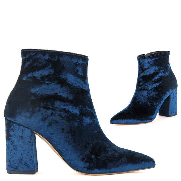 cc77a5dfc0a Petite Velvet Ankle Boots In Blue 8cm Heel Astor by Pretty Small Shoes