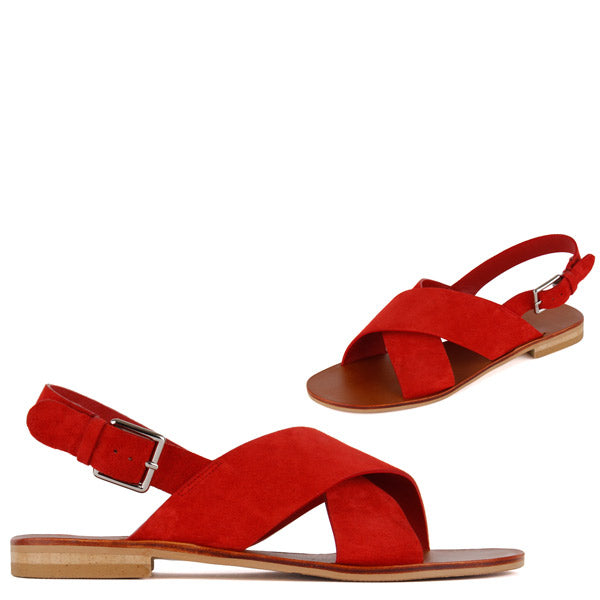 0611f2499bb06 Petite Size Red Flat Sandals Comfort Chic by Pretty Small Shoes