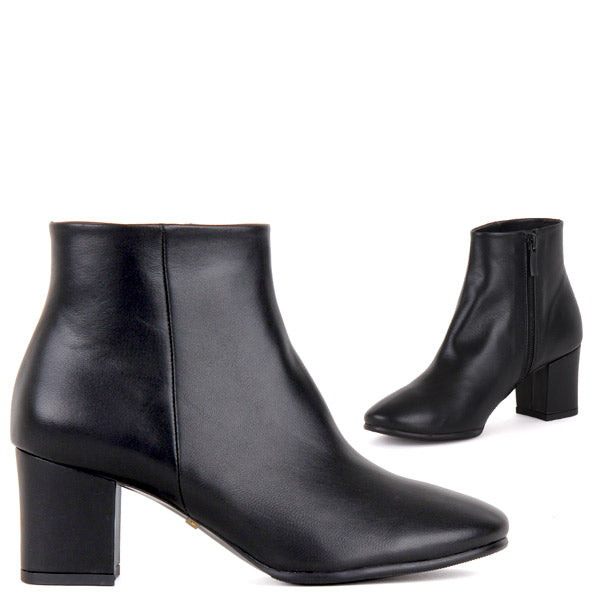 Petite Ladies Classic Mid Heel Black leather Ankle Boots Glamme by ... 454ca674c