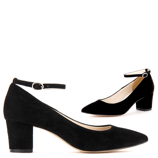 844248a667ce2 Petite Black Suede Ankle Strap Mid Heels COURTNEY strap suede - by Pretty  Small Shoes