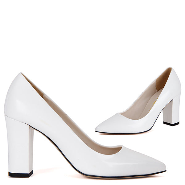28b99f612d7 Small Size Leather Block Workday Mid Heels - MYRA white- by Pretty ...