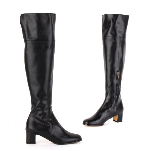 51346425900 Petite Size Black Mid Heel Over Knee Boots. MIZCHI Pretty Small Shoes