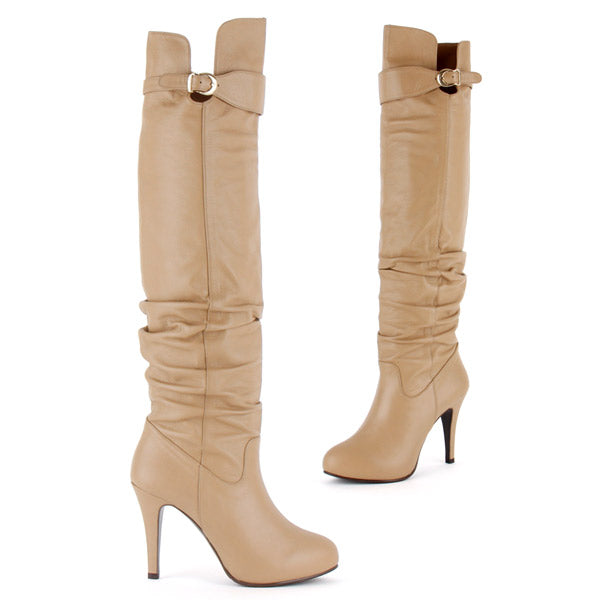 3c36a2fee85 Petite Over Knee Boots In Beige Leather and Hidden Platform Sole by ...