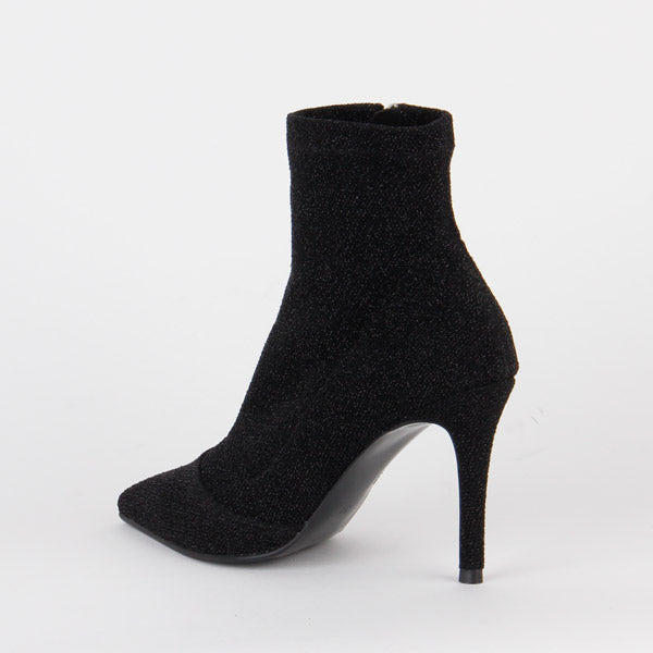 Petite Size Black Glitter Ankle Boots