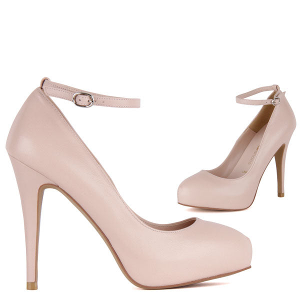 8fb4e99d8db9 Petite Light Pink Super High Stiletto Ankle Strap Pumps Scandalize ...