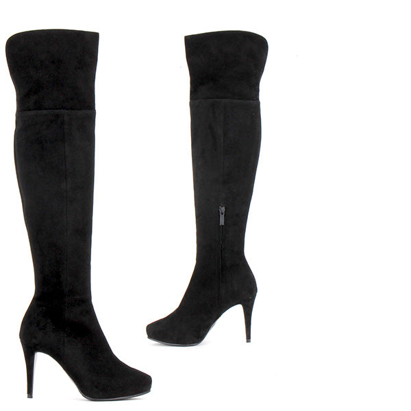Petite Over The Knee Boots Black Suede