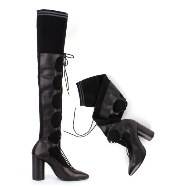 Petite Size Black Over Knee Sock Boots