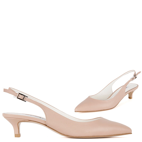 2bb1884a0a0 Petite Beige Lamb Leather Slingback Mid Heels LUMLEY by Pretty Small Shoes