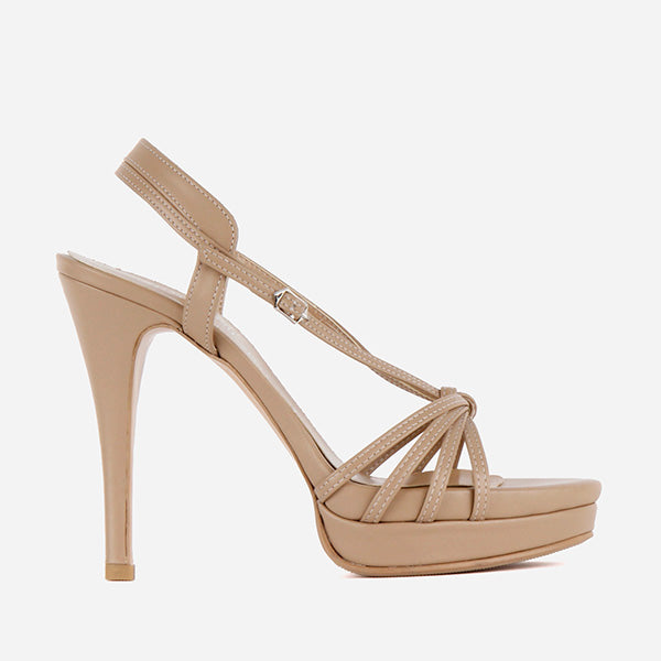 Petite Size Strappy Nude Sandals With High Heel Platform -3135
