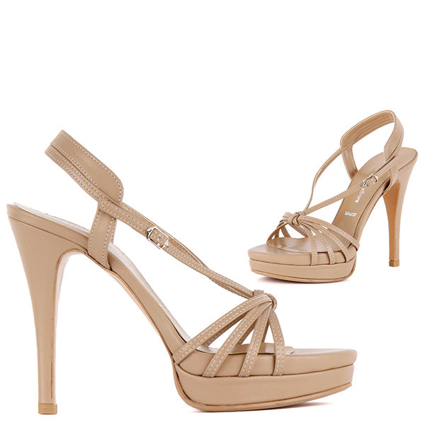 fe7c0a733de Petite Size Strappy Nude Sandals With High Heel Platform Adela by Pretty  Small Shoes