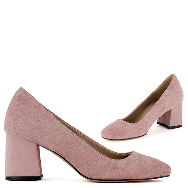 58ca92f423d0 Petite Size Pink Suede Leather Mid Heel Courts - MINNY pink by Pretty Small  Shoes