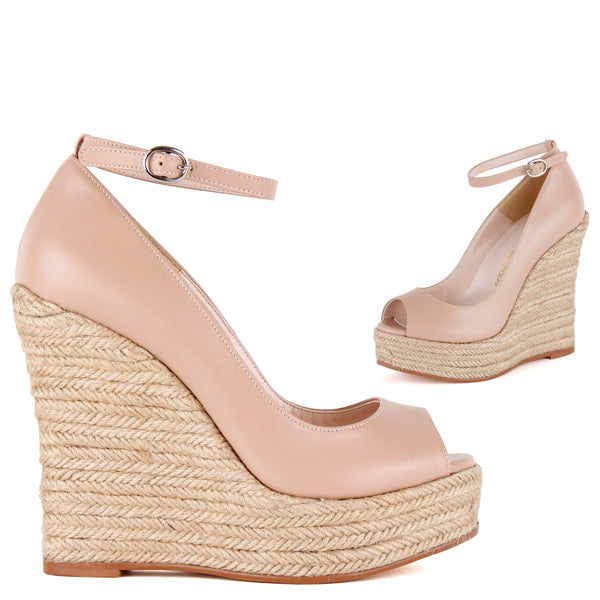 aa5bb6b369aab Small Sized Classic Wedge 12cm Heel Beige Leather And Ankle Strap - by Pretty  Small Shoes