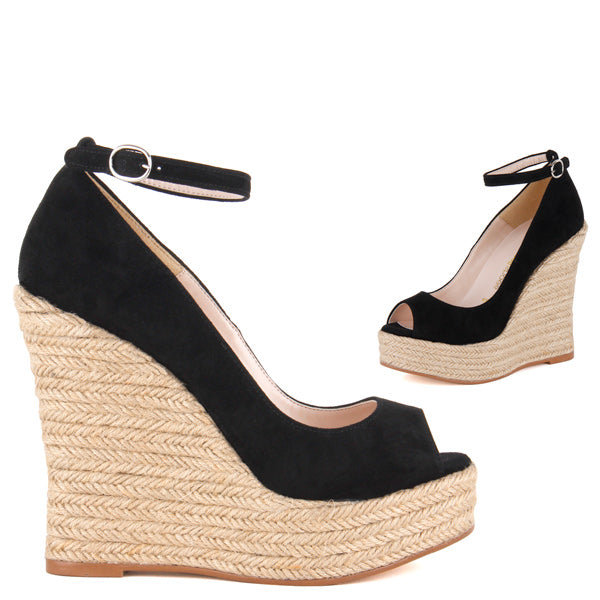 b824297019fd Small Sized Classic Wedge 12cm Heel Black Leather And Ankle Strap ...