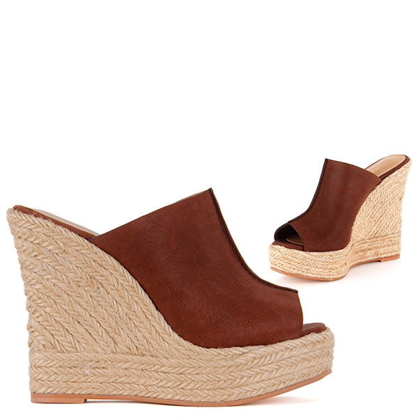 ea856aa3b0 Petite Size Espadrille Wedge Heel Soft Tan Leather 70s Vibe Highland by  Pretty Small Shoes