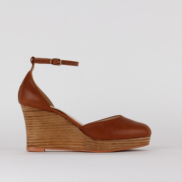*BAKU - closed toe wedge - brown, 8/2cm size UK 2.5
