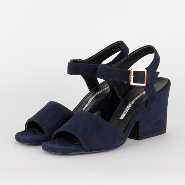 *MARCELL - navy suede, 7cm size UK 2.5