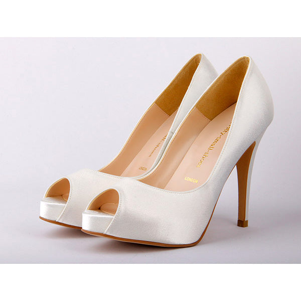 49eacf55ed32 Small Sizde Ladies High Heel Wedding Shoes In Ivory Leather RSVP by ...