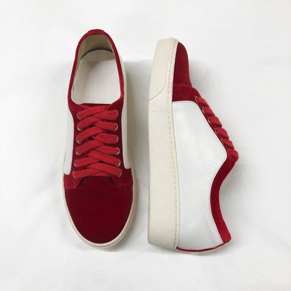 723ef0a0a972 Petite Size Red velvet Sneaker by MIZCHI Pretty Small Shoes