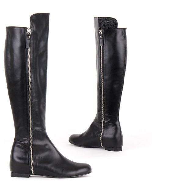 f1655049f18f Petite Size Over Knee Boots Black Leather Side Zipped Flat Heels Sadio By  Pretty Small Shoes