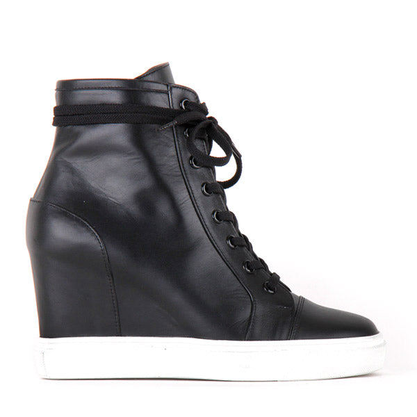 a2477233085f small size black leather converse style wedge heel sneakers HOLA by Pretty  Small Shoes