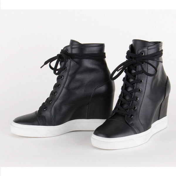 d2230990205a small size black leather converse style wedge heel sneakers HOLA by ...