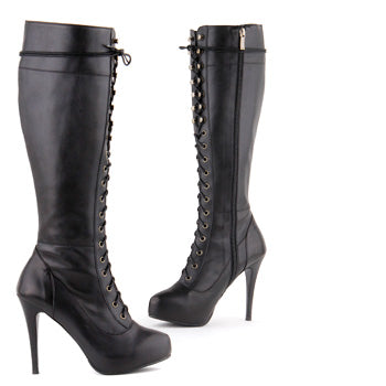 6d01755fa91 Small Size Black leather lace Up Knee Boots Run This Town By Pretty Small  Shoes